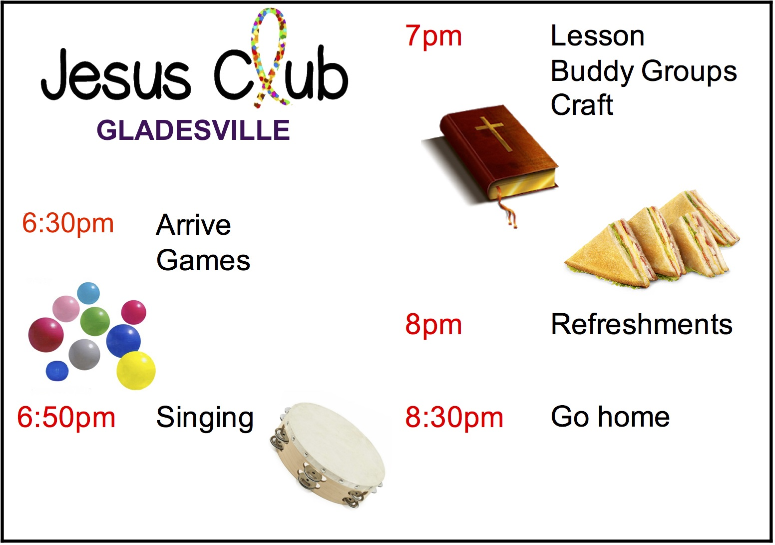 Timetable Jesus Club Gladesville