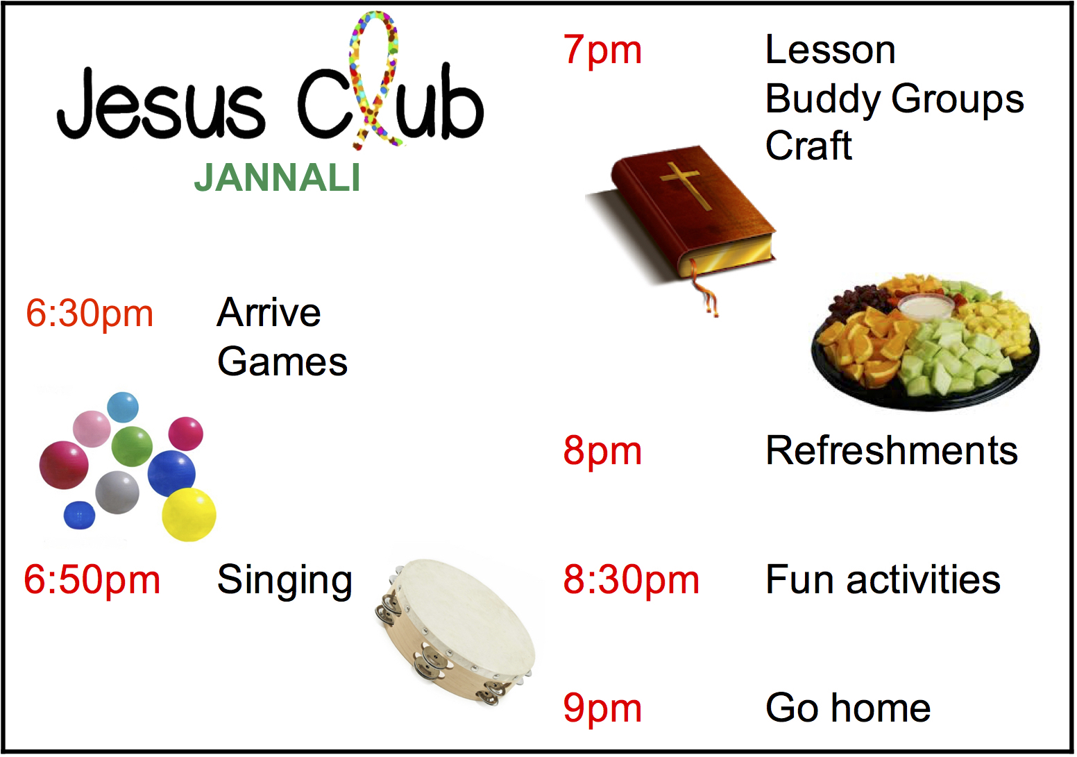 Timetable Jesus Club Jannali