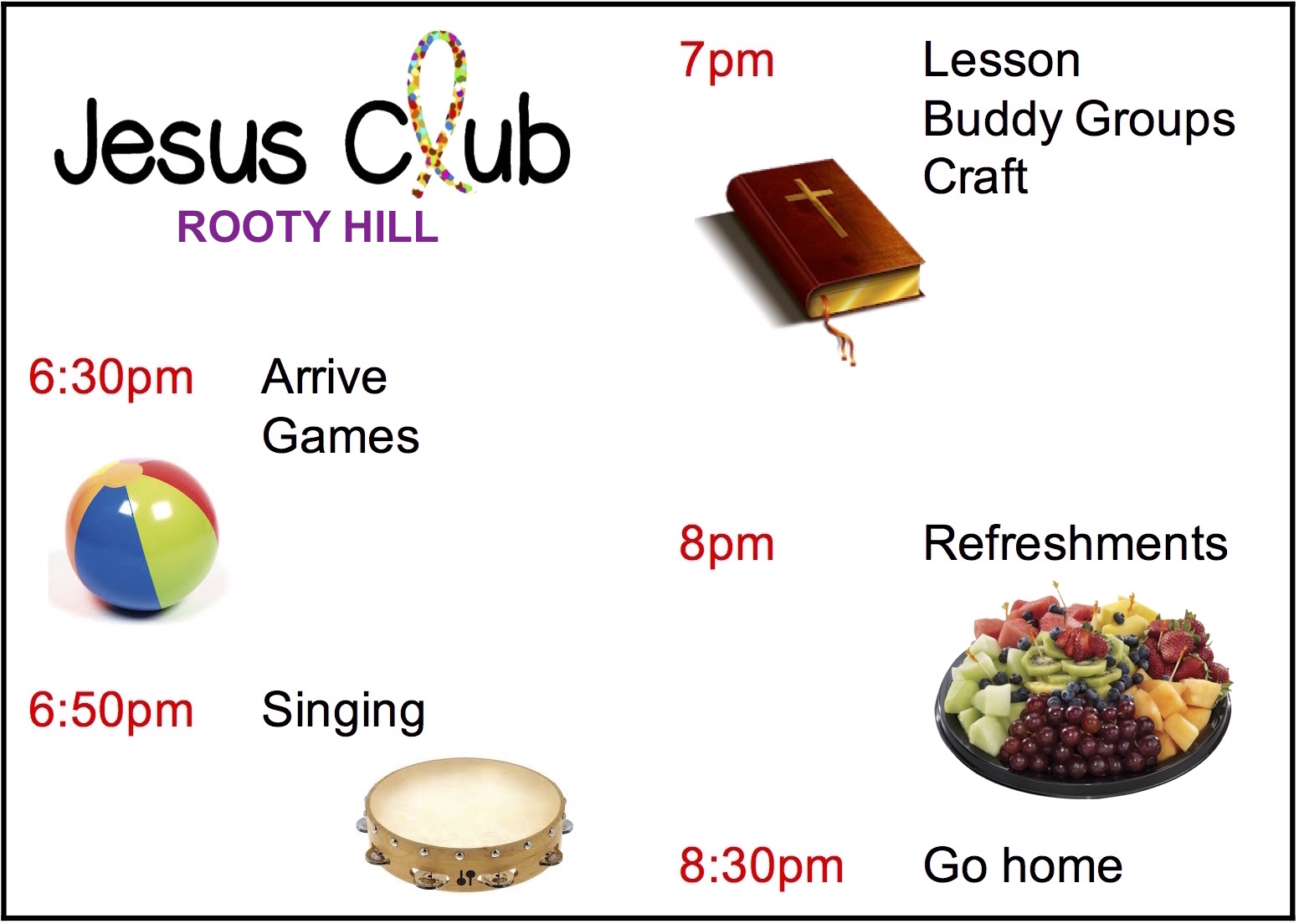 Timetable Jesus Club Rooty Hill